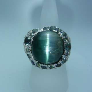 rare tourmaline cats eye &natural green sapphire white gold ring