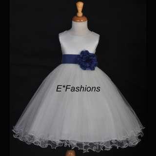 IVORY NAVY BLUE BRIDAL FLOWER GIRL DRESS 18M 2 4 6 8 10