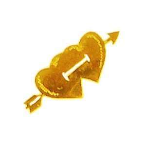 Valentines Day Gold Two Hearts & Arrow Nail Stickers/Decals Beauty