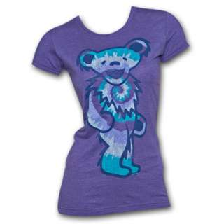 Grateful Dead Tie Dye Bear Purple Ladies Graphic T Shirt