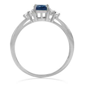 Natural London Blue & White Topaz 925 Sterling Silver Engagement Ring