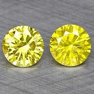 Cts 2pcs WORLD RARE FANCY VIVID CANARY YELLOW NATURAL DIAMOND