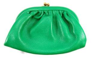 Vintage Green Leather Ladies Handbag Wildflower Purse
