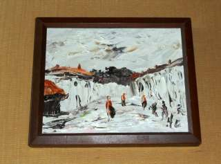 MID CENTURY MODERN ABSTRACT IMPASTO OIL PAINTING ARTIST SIGNED