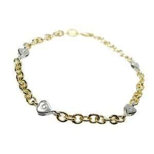 14K Yellow Gold Rollo Link Anklet Bracelet 10, with White Gold Heart