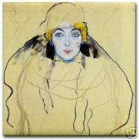 Gustav Klimt Ceramic Art Deco Tile   Head of a Woman
