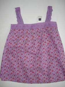 NWT GAP KIDS GYPSY Purple Floral Top Shirt MEDIUM 8