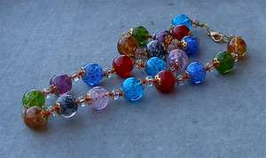 LONG VINTAGE GOLD MURANO GLASS BEADS NECKLACE ITALY mul