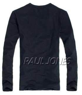 Handsome PJ Mens Long Sleeve Henley Slim fit Cotton T Shirt TEE Black
