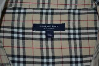 BURBERRY LONDON SHORT SLEEVE TAN BEIGE 100% COTTON SHIRT MENS XL