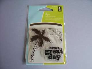 RUBBER STAMPS CLEAR HAVE A GREAT DAY PALM TREE BIRD STAMP