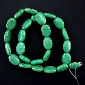 16mm green turquoise flat oval beads 16 strand