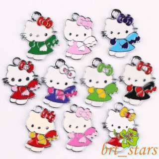 Tibetan silver Mix color hello kitty cat Pendants Charms 22*17mm TS111
