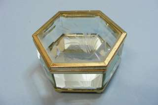 Fine Vintage Collectible Etched Glass Brass Mirror Trinked Jewelry Box