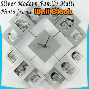 Multi 12 Pic Modern Family Photo Frame Wall Clock G27 |