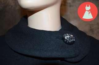 Black Coat AUDREY HEPBURN Long Wool Winter Heavy Jacket MOD M L