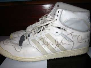 ADIDAS ORIGINALS HIGHTOPS MADE IN FRANCE GAME USED & SIGNED BY