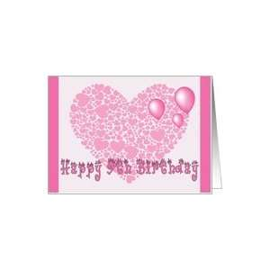 9th Birthday, Pink hearts, balloons & hearts Card Toys & Games