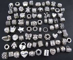 Wholesale 80pcs Tibetan Silver Mix Spacer Beads Fit European Bracelet