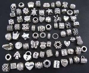 Wholesale 80pcs Tibetan Silver Mix Spacer Beads Fit European Bracelet