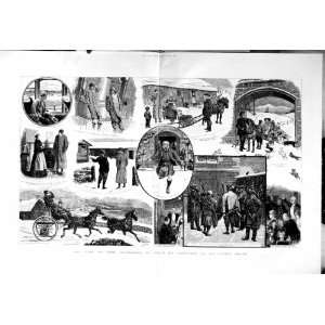 1884 MAC VERE CHRISTMAS SHIP SNOW HORSES CARRIAGE ART