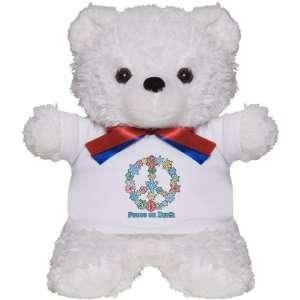 Teddy Bear White Christmas Snowflake Wreath Peace Symbol