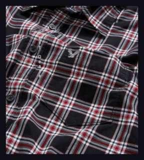 AE Mens Athletic Fit BLACK PLAID Shirt New FREE FAST SHIPPING