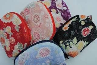 Brocade japanese girl Coin  Purse makeup case bag wallet black