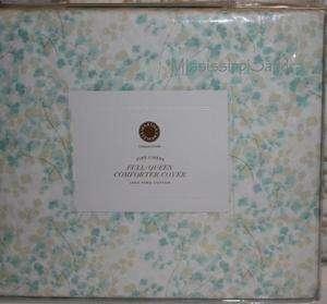 Martha Stewart Maidenhair Fern Full / QUEEN Duvet Cover Aqua White