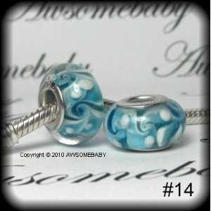 Murano Glass Lampwork Silver Bead Fits Pandora Chamilia Troll Style