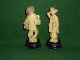 ANTIQUE ORIENTAL MAN & WOMAN CELLULOID FIGURINES