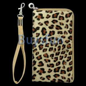 Zipper Brown Case Bag Wallet Pouch for Apple iPhone 4 4G 4S 3G 3GS