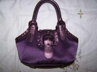 Isabella Fiore Purple Leather Ruffled Trim Metallic & Crystals Evening