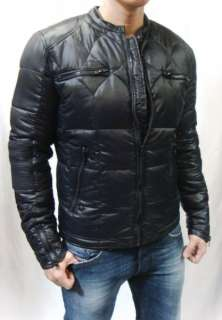 Mens Black Leather Trim, Biker JAMISON Nylon Down Puffer Jacket
