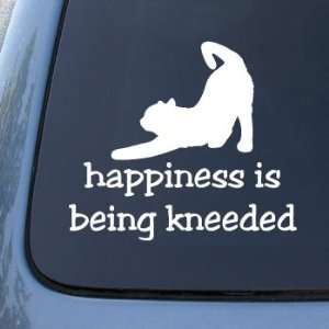 HAPPINESS IS BEING KNEEDED   Cat   Decal Sticker #1520  Vinyl Color