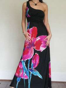 BNWT Womens Ladies Black Dress Maxi BoHo One Shoulder Evening Size 10