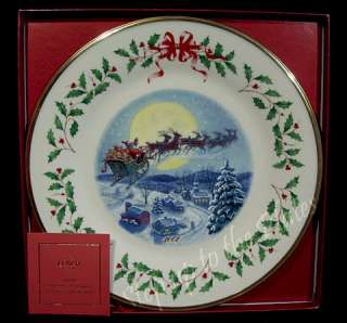 Annual Holiday Christmas Plate 2002 Santas Ride with Box & COA