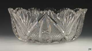 1890s HUGE AMERICAN BRILLIANT CUT GLASS SERVING BOWL