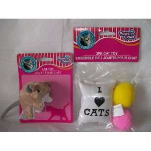 Cat Toys ( 3 Pack Cat Toy + Mouse Jingle Plush Cat Toy ) Plush Cat