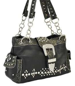Western Cowgirl Black Pink Purple Red Navy Rhinestone Buckle Handbag