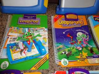 Huge lot 4 Leap Frog leap Pad systems 21 books and Cartridges 2 cases