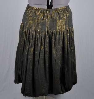 SOFT SURROUNDINGS Black & Gold Metallic Pinstripe Bubble Hem Skirt