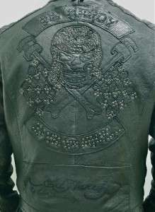 Christian Audigier Mens Biker Skull Motorcycle Lamb Leather Jacket M