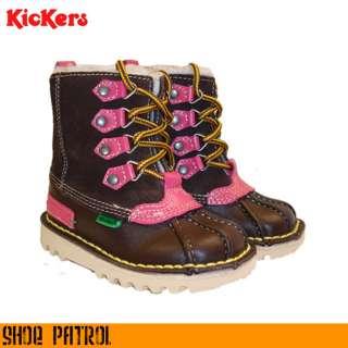 Kickers Kick Infants Kids Girls Pink & Brown Leather Winter Boot size