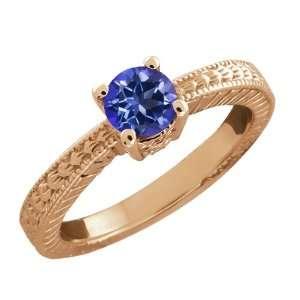 0.60 Ct Round Blue Mystic Topaz 14k Rose Gold Ring