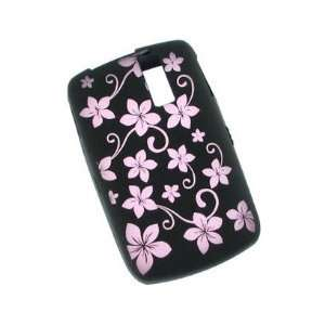 Black and Pink Flowers Design Laser Cut Silicone Skin Case
