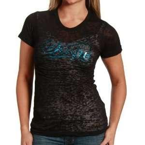 Sinful Ladies Black Meg Burnout Premium T shirt Sports
