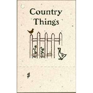 100 Craft Hang Tags say *COUNTRY THINGS* & 100 Cut Strings