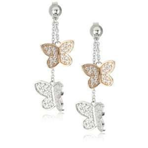 ESPRIT Rose Butterfly White Cubic Zirconia Drop Earrings