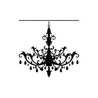 Wall Decals Stickers Art Home Decor, BLACK Chandelier 2 Wall Decals